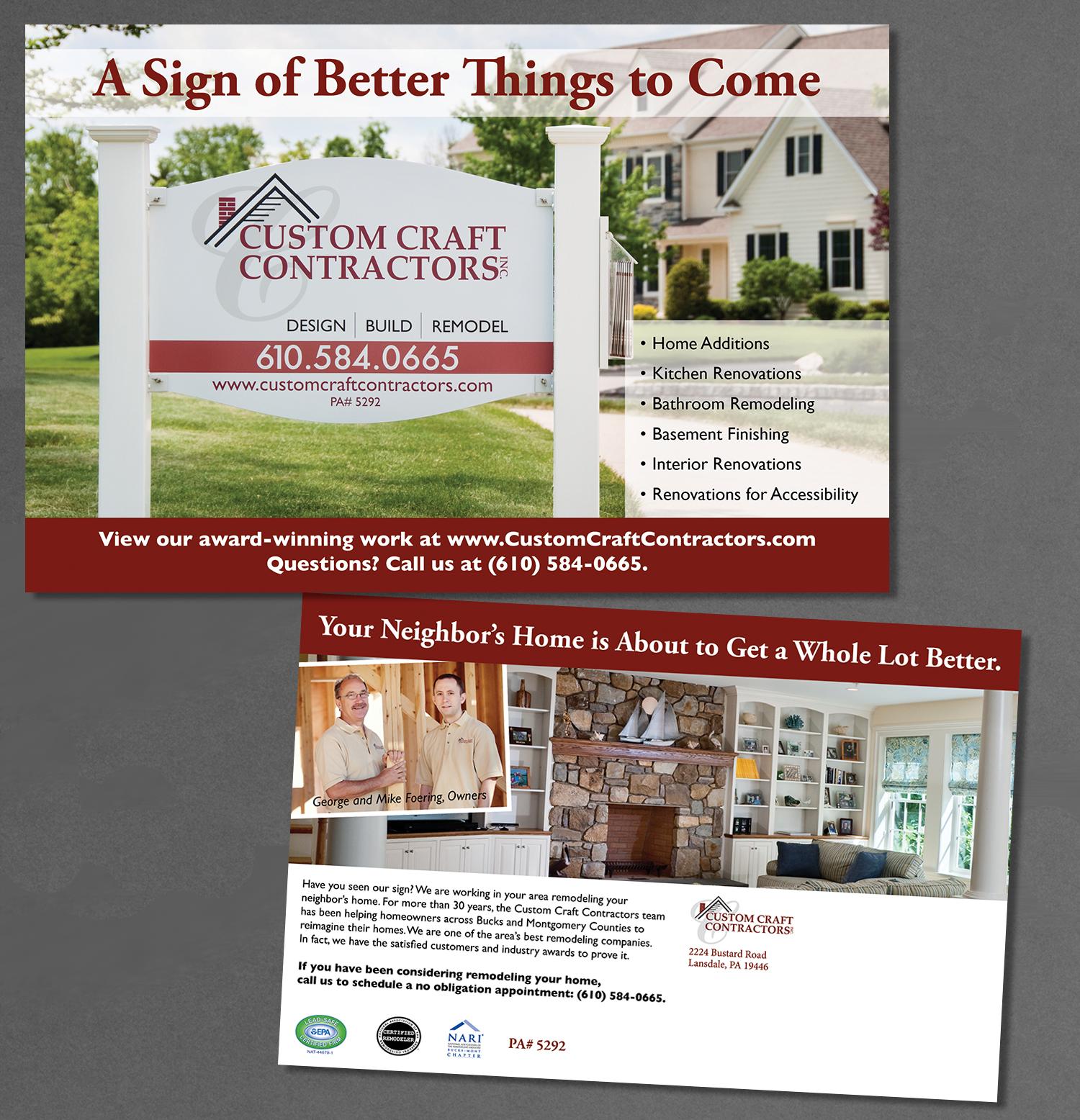 Custom Craft Contractors, postcard