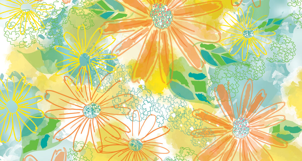 watercolor inspired floral pattern by Ellen Morse Originals
