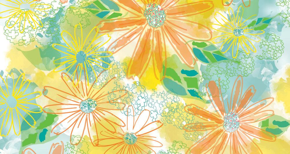 watercolor inspired floral pattern by Ellen Morse Originals